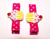 2 Reserved for Flynn4061 - Pink Cupcake Hair Clips