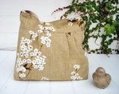 Spring Linen  / Cherry Blossom/ shoulder  Bag/ messenger bag/ipad bag/Mother's day gift