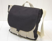 Navy blue ticking/dark charcoal gray canvas/messenger bag/ipad bag/kindle bag/made in USA- perfect gift