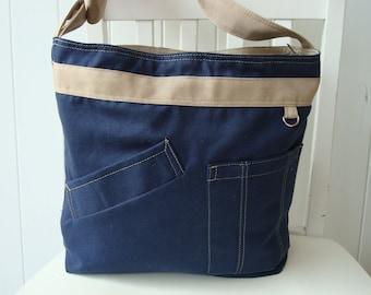 Unisex Canvas Navy Blue messenger bag/ Canvas Khaki cross body bag/Navy blue shoulder bag/Navy blue bag/Zipper Closure bag/Handmade