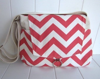 Spring.summer Coral Chevron messenger bag/ipad messenger bag/weddings/Mother's day gift