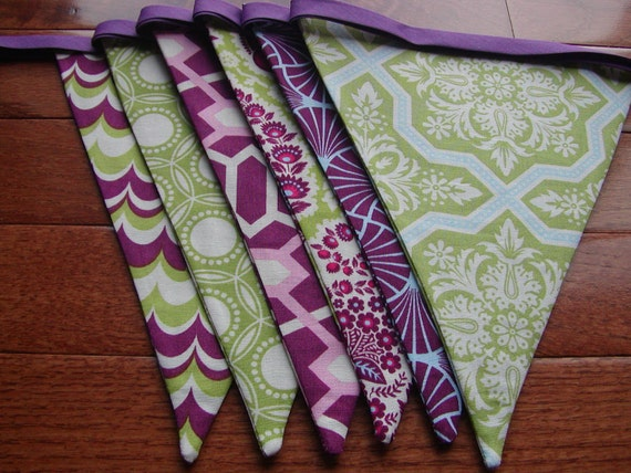 SALE LAST ONE  Ready to Ship,7 Ft 6 Large Flags, Flag Banner/Bunting in Purple and Green