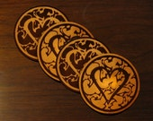 Heart Leather Coasters - Set of 4