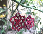 "1 1/2"" Red Leather Rose earrings, Surgical steel fish hook, designed by BSD Studios"