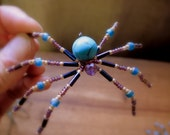 Christmas  Spider  Beaded Sun Catcher Ornament Turquoise and Amethyst