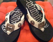 Cowgirl Flip Flops with Silver Cross Conchos