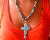 Cowgirl Necklace Beaded Turquoise with Turquoise Cross