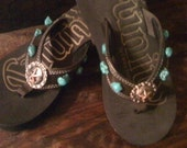 Texas Star Cowgirl Flip Flops with Turquoise Stones