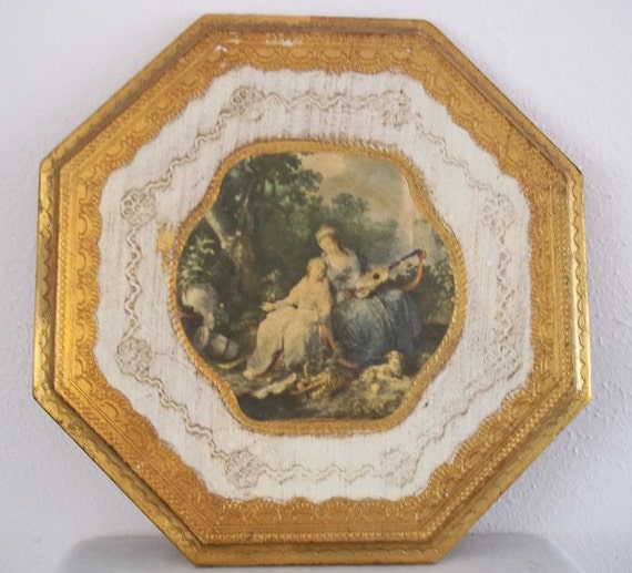 Italian Florentine Octagon Picture of Country Scene