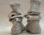 Thigh high KNITTED WOOL  SOCKS - Winter white tweed-like - 25 cm foot - boot sock