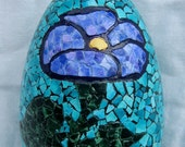 Egg with Violet Flower Egg Shell Mosaic