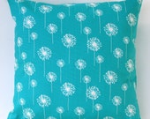 Premier Prints Small White Dandelion on True Turquoise Pillow Cover- 20x20 inches- Hidden Zipper Closure