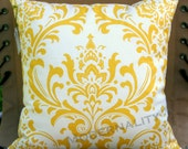 Premier Prints Yellow Damask Pillow Cover- 16x16 inches- Hidden Zipper Closure