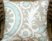 SALE- Premier Prints Powder Blue Suzani Pillow Cover- 16x16 inches- Hidden Zipper Closure