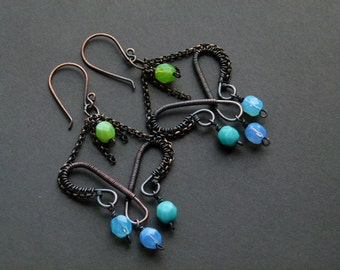 Copper wire earrings with fire polish Czech beads