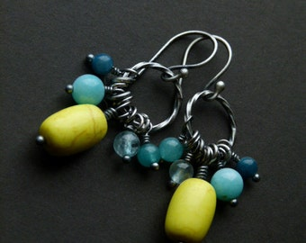 Two Lemons - summer colors sterling silver earrings with howlite, apatite, amazonite and marble