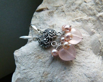 Sterling silver earrings with pink quartz hearts and freshwater pearls and carved connector