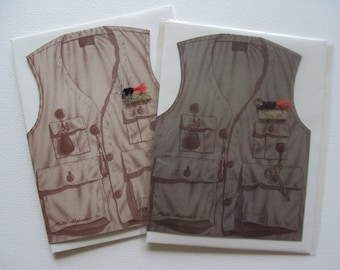 Fly Fishing Vest greeting card (blank)
