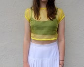 Sheer yellow silk organza tailored midriff: Stealing Daisies