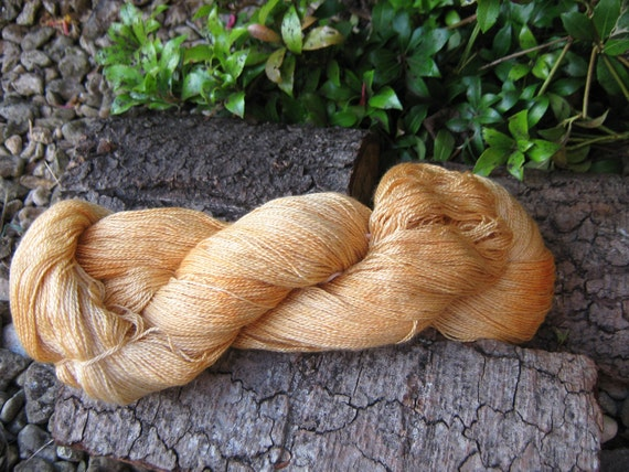 "100grms hand painted  silk and cashmere lace weight yarn ""golden haze """