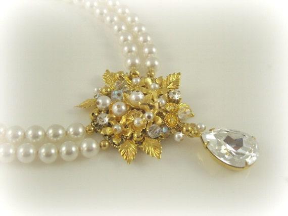 Pearl Bridal Necklace, Double Strand Swarovski Pearl Rhinestone, Edwardian Look Wedding Jewelery