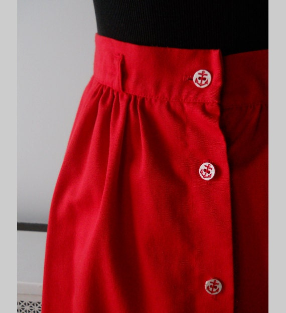 S  A  L  E  // 1970s Skirt // Cotton Skirt in Cherry Red with Anchor Buttons.