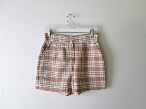 S  A  L  E  // 1970s Shorts // Tan and White Plaid High Waisted Shorts.