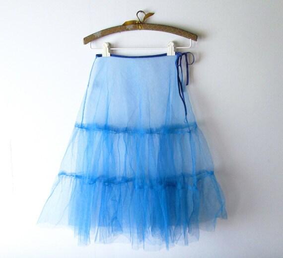 1950s Crinoline // Brilliant Cerulean Blue Tulle Crinoline Skirt.