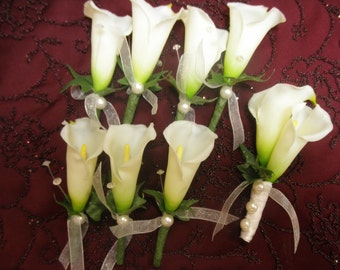 8 Wedding Boutonnieres REAL TOUCH CALLA Lily. (1) Groom Bout (7) Boutonnieres. White Ivory Lilies Pearl Accents.