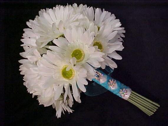 Gerber Daisy Rhinestone Bridal Bouquet with jewel brooches. Handtied Round Bride Wedding Bokay Silk Flowers. Destination Wedding.
