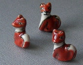 Red Fox Beads, Hand Made Porcelain, Red-Orange, 20x15x9mm, 3pcs