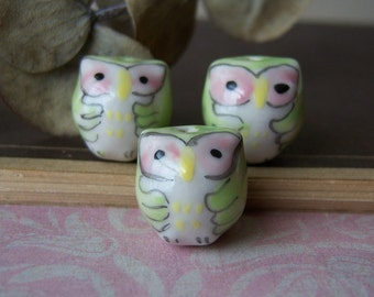 3 OWL Beads/ Adorable Porcelain Owl Beads/Porcelain/Porcelain Beads