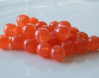 SALE -Salmon 8mm Glass Beads, Loose Beads, 50 Pcs