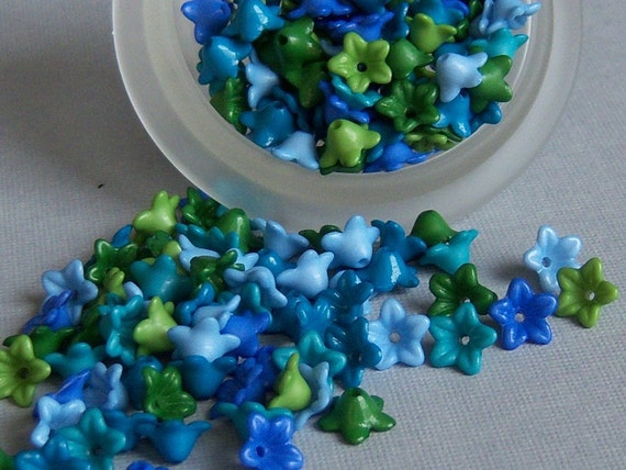 50 Blues and Greens, Tiny Bell Flowers, Five Points Star Flowers, 9x7mm, Random mix.