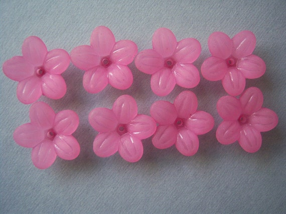 12 Pink  Lucite Flowers, 20x6mm, Easter, Spring-Summer Flowers