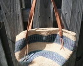 Vintage Woven Purple and Teal Market Bag
