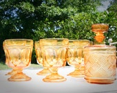 Vintage Set of 6 Amber Glasses and Decanter Whiskey Set