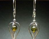Teardrop Earrings - Sterling Silver and Green Indian Agate