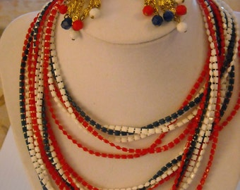 Red White and Blue Vintage Jewelry  Necklace Earrings and a Brooch