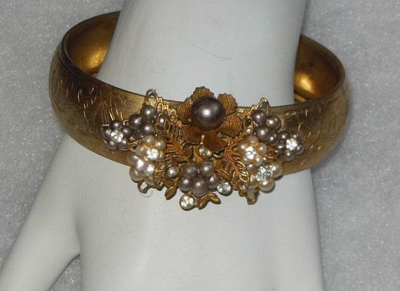 Vintage Bangle Bracelet with  Pearl & Rhinestone Flowers Cluster