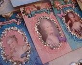 Gift Tags - Marie Antoinette - Paris - French - Bonjour - Roses - Tres Chic -(SET of 8) -  Ooh La La