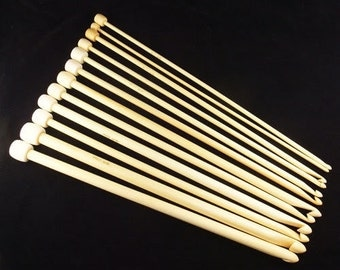 "10"" 25cm 12 Sizes Afghan Tunisian Bamboo Crochet Hooks"