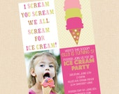 Ice Cream Party . Invitation . Any colors . Boy or Girl