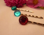 Emerald, Topaz and Ruby Jewel Bobby Pins