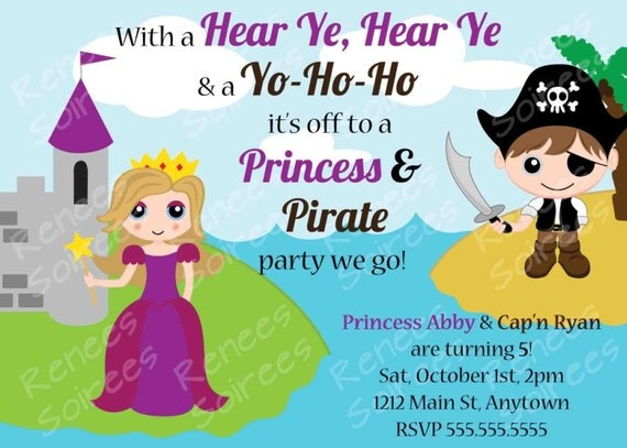 PRINCESS and  PIRATE Birthday Party - Printable INVITATION - Customizable Invite diy