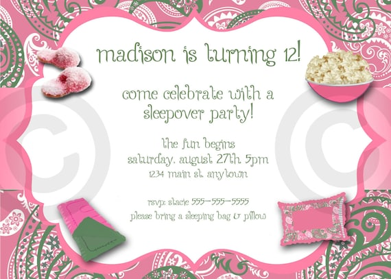Challenger image with free printable slumber party invitations