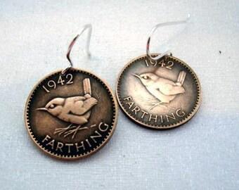 Coin Jewelry Vintage FARTHING WREN BIRD coin earrings - sterling silver earwires or hoops, Jenny Wren, Christopher Wren