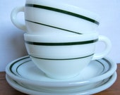Vintage  Retro Diner Style Teacup and Saucers set of 2