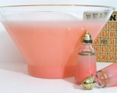 ON SALE Glass Serving Bowl with Matching Shakers Flamingo Pink Blendo Bowl