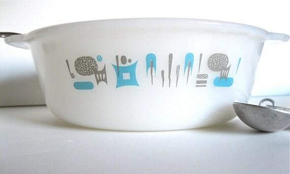 ON SALE Vintage Blue Heaven Round Baking Dish White Glass Retro Atomic Era Print